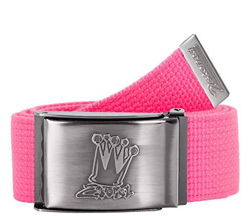 2Stoned Tresor-Gürtel Geldgürtel Neon-Pink 4 cm breit, matte Schnalle Crown, Gürtel für Damen