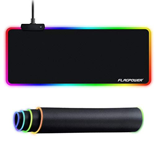 FLAGPOWER RGB Gaming Mouse Pad, Soft Large Extended LED Mouse Pad, Oversized Glowing Computer Keyboard Pad Mat, Non-Slip Rubber Base Waterproof Mousepad Optimized for Gamer/Office 800 x 300mm