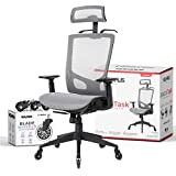 NOUHAUS ErgoTASK - Ergonomic Task Chair, Computer Chair and Office Chair with Headrest. Rolling Swivel Chair with Blade Wheels (Grey)