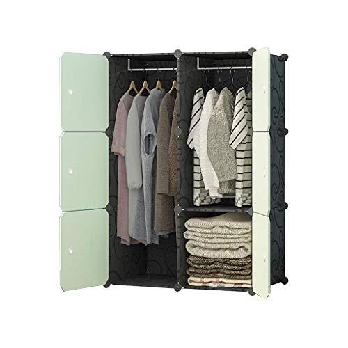 XIAOJUAN Guardarropa portátil para colgar ropa combinación armario ideal almacenamiento organizador cubo para libros toallas juguetes (verde) FANJIANI ( Tamaño: 37x47x147cm) ( Size : 76x47x111cm )