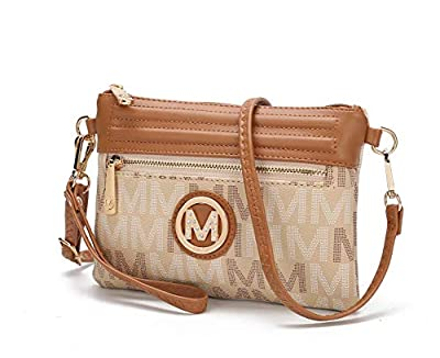 Mia K. Collection Crossbody Bags for Women - Wristlet Handbag - PU Leather Messenger Purse Beige