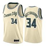 WOLFIRE SC Camiseta de Baloncesto para Hombre, NBA, Milwaukee Bucks #34 Giannis Antetokounmpo. Bordado, Transpirable y Resistente al Desgaste Camiseta para Fan (City Edition 2020, L)