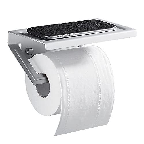 portarrollos baño sin Taladro Soporte Papel higienico con Estante portarollos Papel higienico Adhesivo Pared Espacio de Aluminio para baño Cuarto de baño-Plata