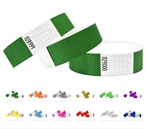 Tyvek Pulseras – 500 unidades – Tyvek pulseras para eventos (Verde oscuro, 500 Pack)