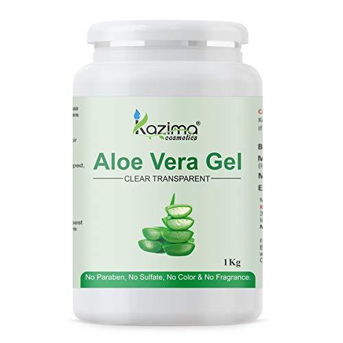 KAZIMA Aloe Vera Gel Raw - 100% Pure Natural Gel - Ideal for Skin, Face, Acne Scars, Hair, Moisturizer & Dark Circles (1 KG)