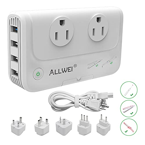 ALLWEI International Travel Adapter 220V to 110V Step Down Power Voltage Converter for Hair Straightener/Curling Iron, Universal Power Plug Adapter UK, US, AU, EU, IT, India