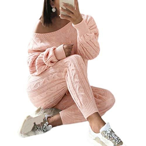 WE-WHLL Kobiety jesień 2 sztuki zestaw odzieży z długim rękawem okrągły sweter sweter topy spodnie skręcony kabel dzianina jednolity kolor strój do siedzenia duży rozmiar S-2XL-różowy