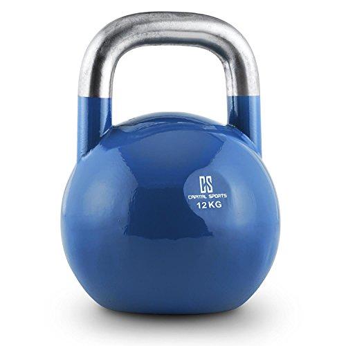 Capital Sports Compket 12 Competition 12kg schwere Kettlebell Kugelhantel (Stahl, wetterfest, wettbewerbsnorm, abgeflachter Boden) blau