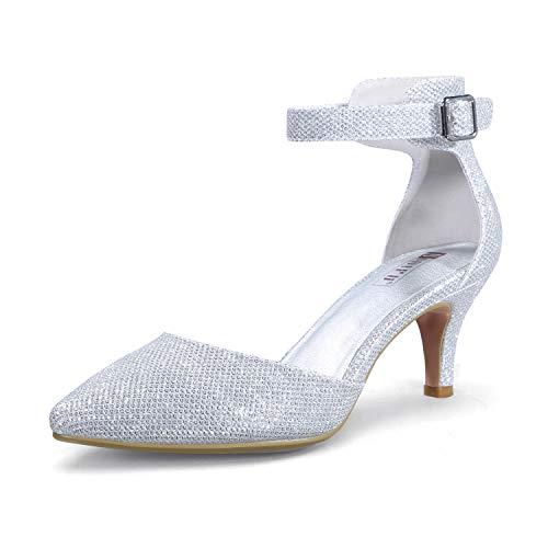 IDIFU Women s IN3 D Orsay Low Kitten Heels 3 Inch Wedding Dress Shoes Ankle Strap Closed Pointed Toe Pumps (Silver Glitter  8 B(M) US)