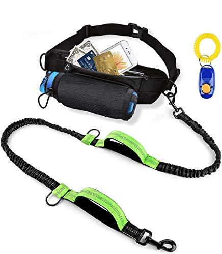 SZELAM, guinzaglio per cani, lascia le mani libere, per corsa, con cintura regolabile e multifunzione, guinzaglio elastico riflettente con 2 manici, per addestrare i cani