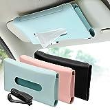 3 Pack Car Tissue Holder, PU Leather Sun Visor Napkin Box Holder, Hanging Tissue Mask Holder with Glasses Clip for Car Visor, Auto, Vehicle Accessories