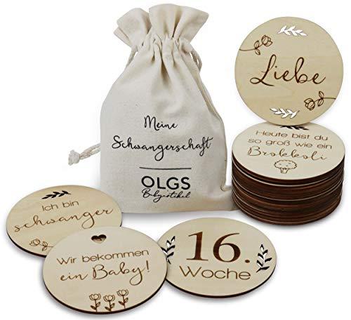 40 Holz Meilensteine inkl. Stoffbeutel Schwangerschaft | Meilensteinkarten als Geschenkidee zur Geburt oder Babyparty | SET aus 20 Teilen (02 - Rund Schwangerschaft (Ø 10cm))