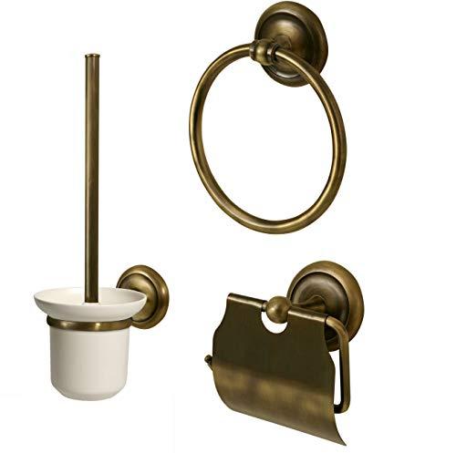 Aprovio WC 3er-Set für Gäste WC - Toilettenbürste, Toilettenpapierhalter & Handtuchring im Antik-Messing Stil