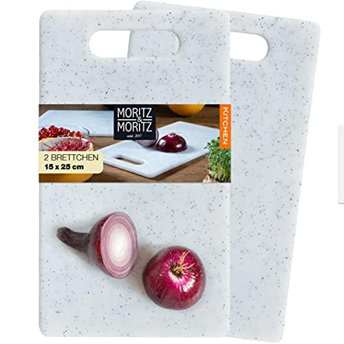 Moritz & Moritz 2tlg Schneidebrett Kunststoff Set in Granit Optik - 25 x 15 cm - Frühstücksbrettchen - Schneidebrett Set hygienisch und spülmaschinenfest