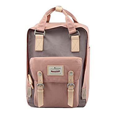 Himawari Backpack/Waterproof Backpack 14.9  College Vintage Travel Bag Women,13inch Laptop Student (Pink&Gray)