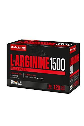Body Attack L-Arginine 1500, L-Arginin Kapseln hochdosiert, Pre-Workout Produkt mit 6000mg L-Arginine HCL pro Tagesportion für Hardcore Workouts (120 Caps)