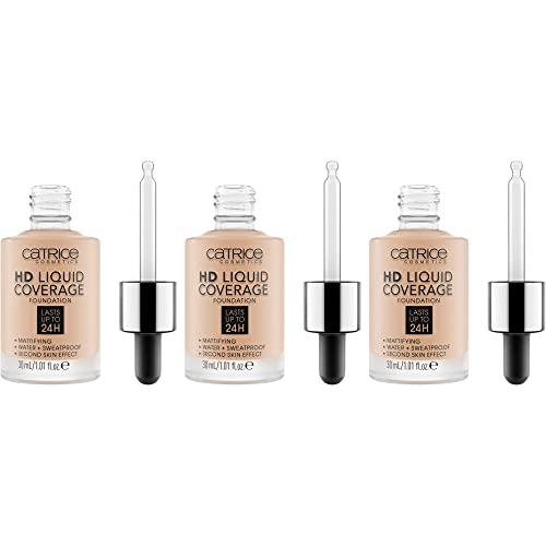 Catrice HD Liquid Coverage Foundation, Make Up, Nr. 030 Sand Beige, nude, für Mischhaut, für unreine Haut, langanhaltend, mattierend, matt, vegan, ölfrei, ohne Alkohol, 3er Pack (3 x 30ml)