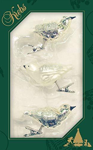 Dekohelden24 Lauschaer Christbaumschmuck - 3er Set Vögel auf Clip in Satin Silber, ca. 13 cm