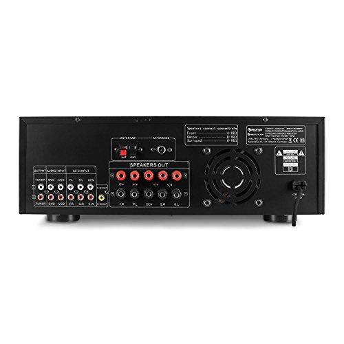Auna, AMP5100 5.1, home theater hifi surround AV-versterker met 1200 watt en microsectie (5.1/3.2,1/1/1, modus, micro-effecten, afstandsbediening) zwart