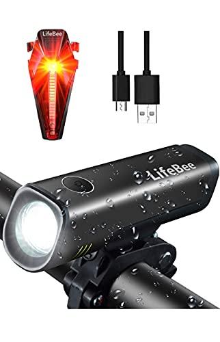 LIFEBEE LED Fahrradlicht Set, LED Fahrradbeleuchtung fahrradlichter USB Wiederaufladbare Set Wasserdicht Frontlicht Rücklicht 2600mAh 300Lumen Licht für Fahrrad Set