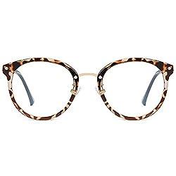 SOJOS Rund Groß Brille mit Blaulichtfilter ohne Sehstärke Anti-Blaulicht Gläser Brille SJ9001 Ashley mit Leopardenmuster Rahmen/Anti-Blaulicht-Linse