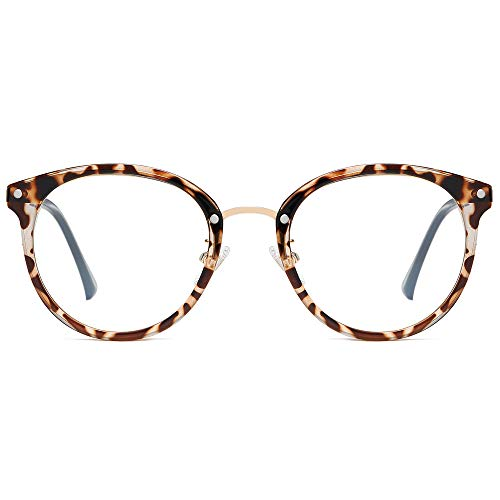 SOJOS Retro Big Round Blue Light Computer Glasses TR90 Eyewear Frame Ashley SJ9001 with Leopard Print Frame/Anti-Blue Light Lens