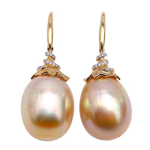 JYX Orecchini pendenti in oro giallo 18 carati con perle AAA+originali 13,5 × 17,5 mm, con perle coltivate nel Mare del Sud, punteggiate di diamanti brillanti per le donne