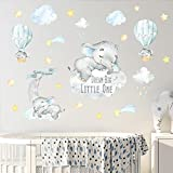 Yovkky Blue Watercolor Baby Boy Elephant Wall Decal, Peel Stick Sweet Dream Big Little One Sticker Moon Hot Air Balloon Star Nursery Decor, Home Play Room Decoration Kids Bedroom Art Party Supply Gift