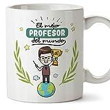 MUGFFINS Taza Profesor (Hombre)- El Mejor Profesor del Mundo - Taza de Café/Desayuno - Regalos Originales para Profesores y Maestros - Cerámica 350 ml / 11oz