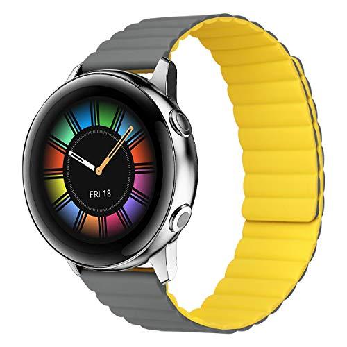MroTech Compatible con Samsung Galaxy Active/Active2 40mm/44mm/Galaxy Watch 3 41mm/Galaxy 42mm Correa 20mm Silicona Pulseras Repuesto para Huawei Watch GT 2 42 mm Banda Hebilla Magnética-Gris/Amarillo
