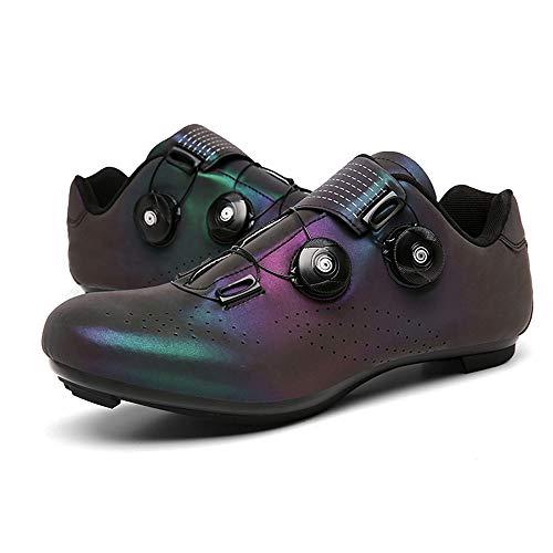 GET Zapatillas de Ciclismo con Doble Hebilla, Zapatillas Transpirables Profesionales de MTB para Carretera Zapatillas de Bicicleta Luminosas con Cierre automático EU 37-48