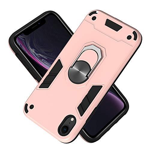 Armure Coque iPhone XR(6.1 inch), Boîtier PC + TPU Double Layer Housse résistant aux Chocs avec Support à Anneau Rotatif à 360 degrés (Or Rose)