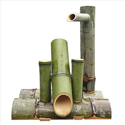 WishY Bambusbrunnen im Freien mit Pumpe, einfach in Teich oder Garten zu installieren, handgefertigt, natürlich und glatt, Aquarium,15.75in