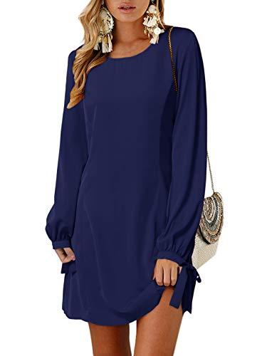 YOINS Sommerkleid Damen Kurz Tshirt Kleid Rundhals Kurzarm Minikleid Kleider Langes Shirt Lose Tunika mit Bowknot Ärmeln ,XXL,Langarm-dunkelblau