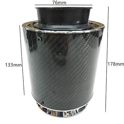 Autopartes Interfaz de aire Filtros de aire de fibra de carbono de alto rendimiento del aire frío del filtro de aire del coche de competición 76MM Coche de filtro de air (Color : L)