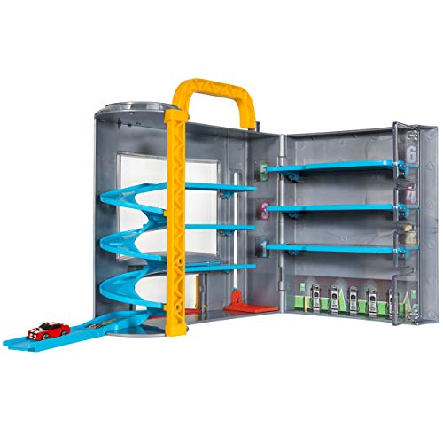 Micro Machines Park and Go Garage Playset - Play and Display Your Toy Car Collection, Incl. 1 Vehicle + Spiral Ramp to Race Into Action - Portable & Perfect for On-The-Go Adventures