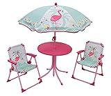 FUN HOUSE 713088 FLAMANT ROSE Salon de Jardin avec 1 Table, 2 Chaises pliantes et 1 Parasol pour Enfant