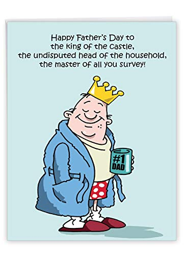 NobleWorks - Jumbo Fathers Day Card Funny (8.5 x 11 Inch) - Hilarious Greeting Notecard for Dads, Grandpa - King Of The Castle J0239