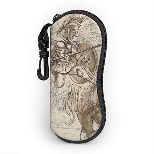Ahdyr Antikes Griechenland Herkules Männer und Frauen Persönlichkeit Mode Langlebige tragbare Brillenetui 3.1 X 6.1In wasserdichtem Sonnenbrillenetui Reißverschluss Hartschale
