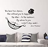 Letters Wall Decor Stickers Alice in Wonderland Quote Wall Vinyl Decal Cheshire Cat Sticker Product Made in USA Smile Decal Wall Lettering for Home Bedroom Nursery D?cor JK1383