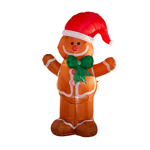 Glitzhome Lighted Inflatable Gingerbread Man 8FT Decor Blow Up Xmas Party Indoor Outdoor Yard Lawn Garden Decoration