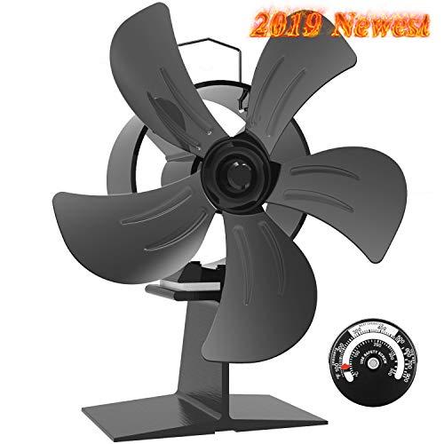 Ofenventilator - 5-Blatt Klein Wärme Betrieben kamin ventilator für Holz/Holzofen/Kamin,Lautlos, Umweltfreundlich, Schwarz [Energieklasse A +++]