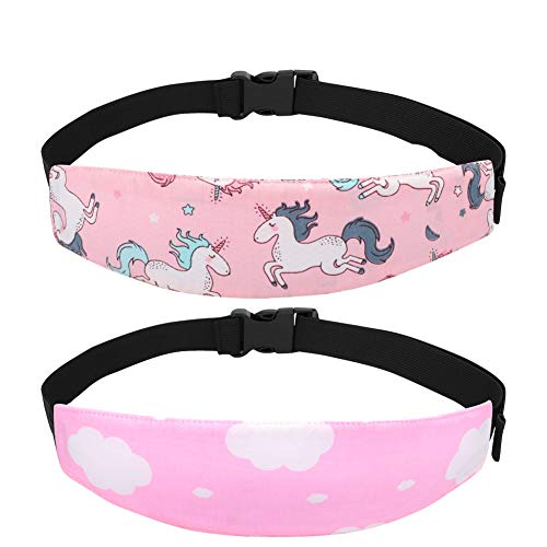 Accmor Baby Carseat Head Support Band Strap 2 Pack for Carseats Stroller Neck Relief Head Strap for Toddler Child Kids Infant(Pink Unicorn + Pink Cloud Pattern)
