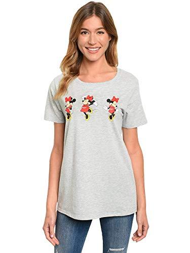 Disney Womens T-Shirt Minnie Mouse (Heather Grey - 3 Minnies, Medium)
