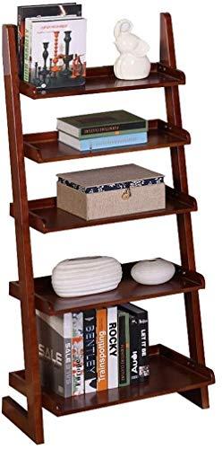 VIVOCC Estantería de madera de 5 capas con estante de escalera estable, estante de almacenamiento para mostrar plantas y flores, estantería para el hogar, estanterías de oficina (color: color nogal)