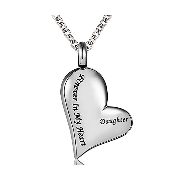 Cremation Urn Ashes Necklace Dad Forever in My Heart Stainless Steel Keepsake Waterproof Memorial Pendant