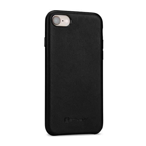 Preisvergleich Produktbild StilGut Premium Leder-Cover kompatibel mit iPhone 8 / iPhone 7 aus Nappaleder,  Schwarz mit Tastenschutz