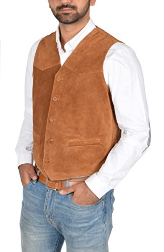House of Leather Herren Echtes Wildleder Traditionelle Stil Klassische Waistcoat Gilet Weste Don Hellbraun (XX-Large)
