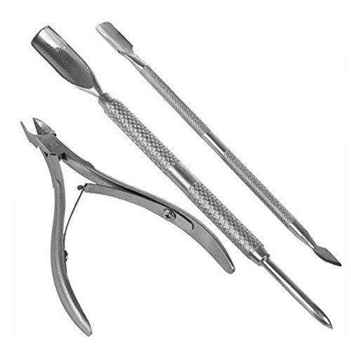 Pinkiou 3 piezas de piel muerta quitar conjunto tijeras de uñas tenedor pinzas Nipper Clipper cortar Kit manicura herramienta para el arte del clavo