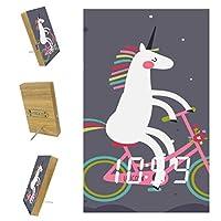 ベッドルーム用デジタル目覚まし時計キッチンオフィス3アラーム設定ラジオウッドデスククロック-動物のかわいいユニコーンBikr自転車